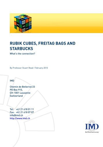 RUBIK CUBES, FREITAG BAGS AND STARBUCKS I What's the - IMD