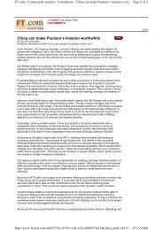 China can make Paulson's mission worthwhile - IMD