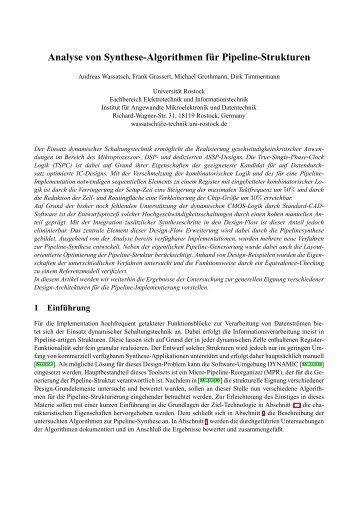 Analyse von Synthese-Algorithmen für Pipeline-Strukturen