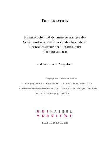 Kinematische und dynamische Analyse des ... - KOBRA