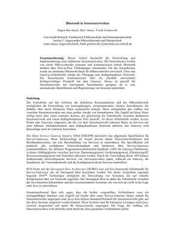 Bluetooth in Sensornetzwerken - Institut für Angewandte ...