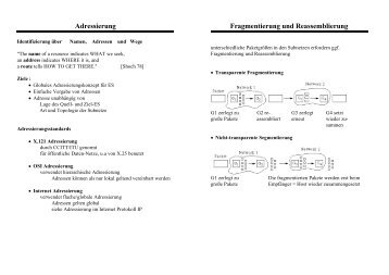 Adressierung Fragmentierung und Reassemblierung