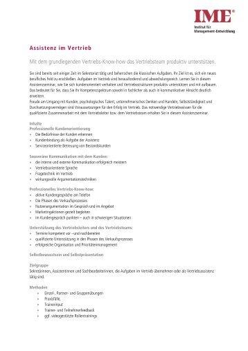 Assistenz im Vertrieb Mit dem grundlegenden ... - IME-Seminare