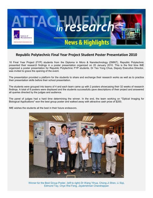Republic Polytechnic Final Year Project Student Poster