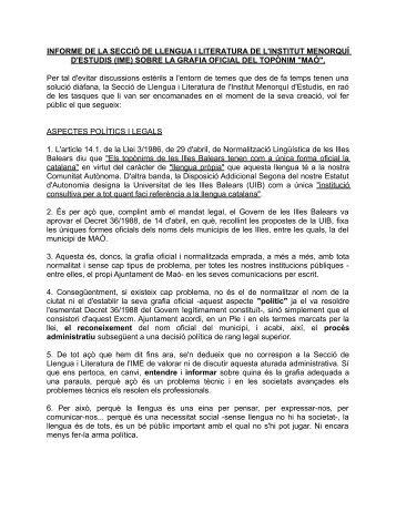 INFORME DE LA SECCIÓ DE LLENGUA I LITERATURA DE L ... - IME