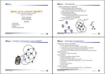 Mobile ad hoc networks (MANET)