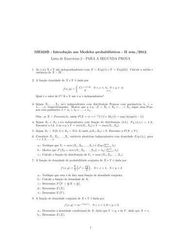 Lista 2 para a prova II do dia 22/11/2012