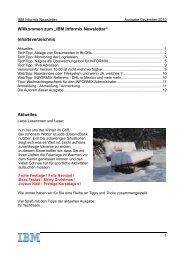 """Willkommen zum """"IBM Informix Newsletter"""" Inhaltsverzeichnis ..."""
