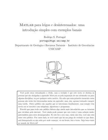 Matlab para leigos e desinteressados: uma introduç˜ao ... - Unicamp