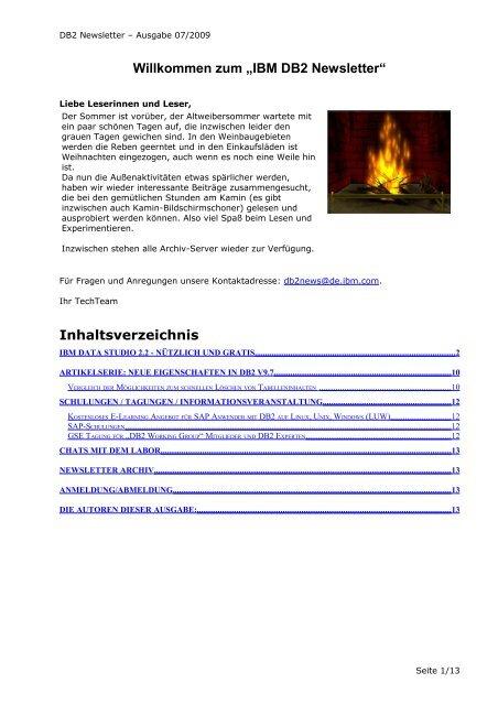 """Willkommen zum """"IBM DB2 Newsletter"""""""