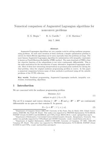 Numerical comparison of Augmented Lagrangian ... - Unicamp