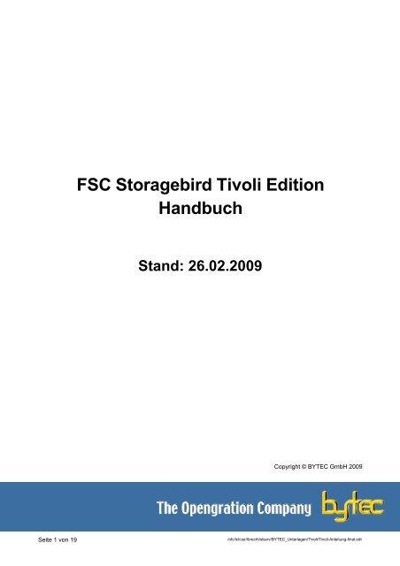 FSC Storagebird Tivoli Edition Handbuch Stand