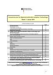Verzeichnis der für allgemeinverbindlich erklärten Tarifverträge