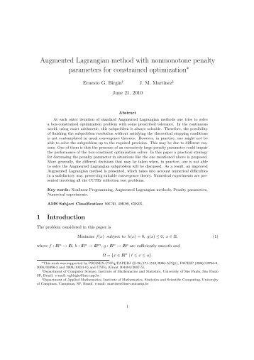 Augmented Lagrangian method with nonmonotone ... - Unicamp