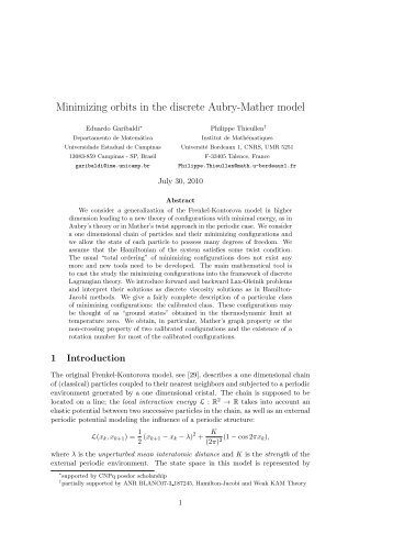 Minimizing orbits in the discrete Aubry-Mather model - Unicamp