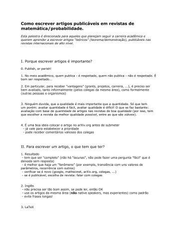 Normas para escrever um artigo