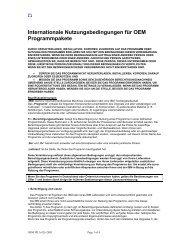 Internationale Nutzungsbedingungen für OEM Programmpakete