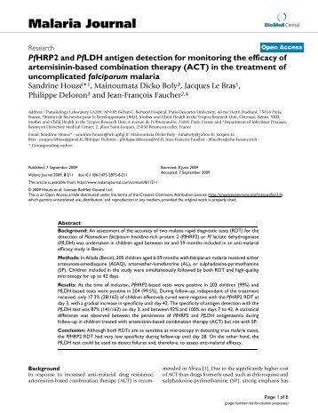 PfHRP2 and PfLDH antigen detection for monitoring the efficacy of ...