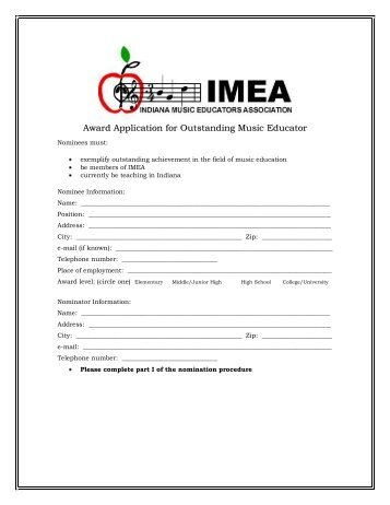 Award Application for Outstanding Music Educator - Indiana Music ...
