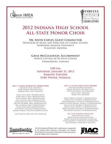 2012 Indiana High School All-State Honor Choir - Indiana Music ...