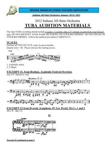 TUBA AUDITION MATERIALS - Indiana Music Education Association