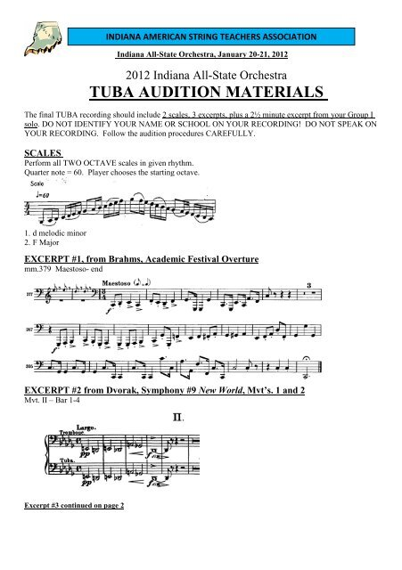 TUBA AUDITION MATERIALS - Indiana Music Education Association