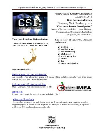 Classroom Succ - Indiana Music Education Association