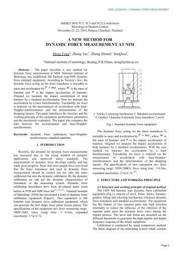 a new method for dynamic force measurement at nim - imeko