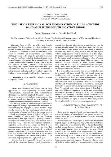 the use of test signal for minimization of pulse and wide ... - imeko