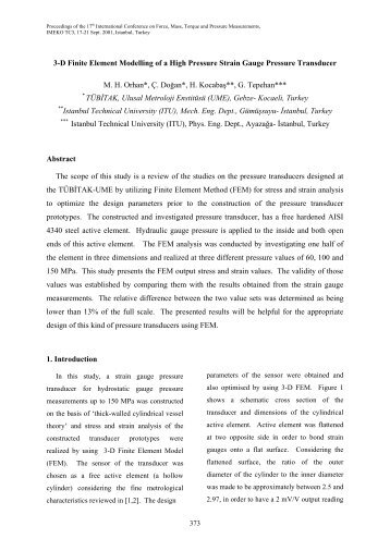 3-d finite element modelling of a high pressure strain gauge ... - imeko