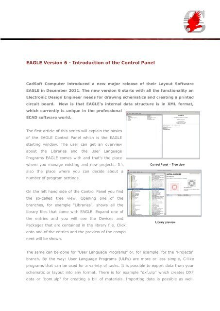 EAGLE Version 6 - Introduction of the Control Panel - Cadsoft