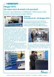 Maggio 2012: Un mese ricco di eventi e di successi ... - IMESA SpA