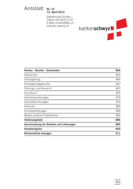 Amtsblatt Nr. 15 vom 12. April 2013 (210 KB), S. 865 - Kanton Schwyz