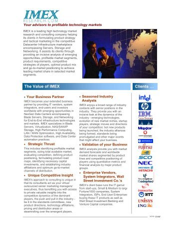 The Value of IMEX Clients … Clients … - IMEX Research