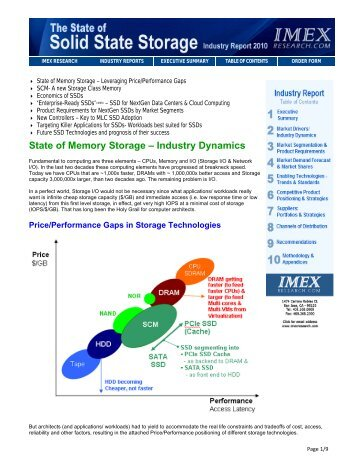 State of Memory Storage – Industry Dynamics - IMEX Research