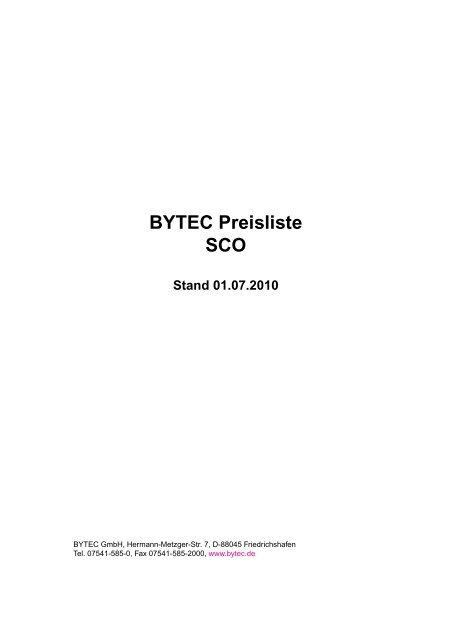 BYTEC Preisliste SCO Stand 01.07.2010