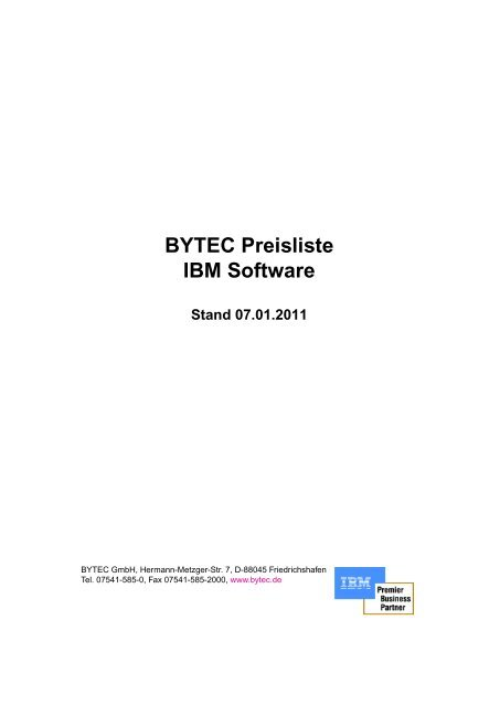 BYTEC Preisliste IBM Software Stand 07.01.2011