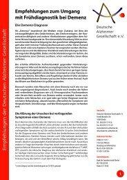 Empfehlungen zum Umgang mit mit Frühdiagnostik bei Demenz