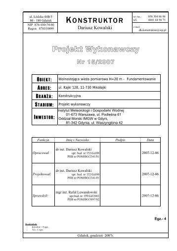 Projekt Wykonawczy - Instytut Meteorologii i Gospodarki Wodnej
