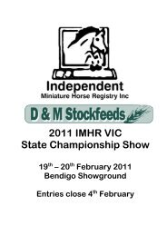 2011 IMHR VIC State Championship Show - Independent Miniature ...