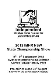 2012 IMHR NSW State Championship Show - Independent ...