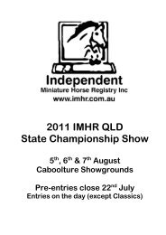 2011 IMHR QLD State Championship Show - Independent Miniature ...