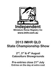 2013 IMHR QLD State Championship Show - Independent Miniature ...