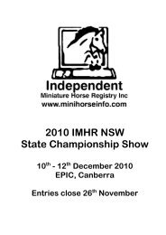 2010 IMHR NSW State Championship Show - Independent ...