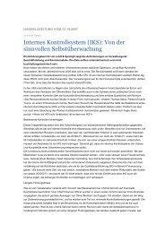 Internes Kontrollsystem (IKS): Von der sinnvollen Selbstüberwachung