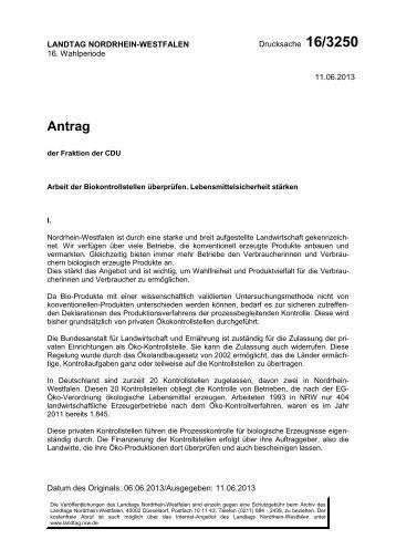 Antrag Drucksache 16/3250 - CDU Landtagsfraktion NRW