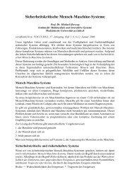 Sicherheitskritische Mensch-Maschine-Systeme - Institut für ...