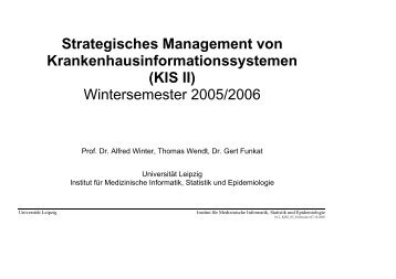 Vorlesungsunterlagen Krankenhausinformationssysteme 2
