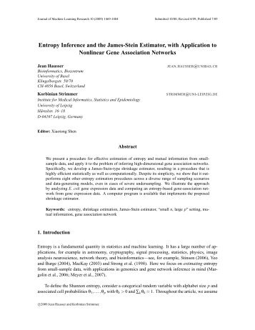Entropy Inference and the James-Stein Estimator, with Application to ...