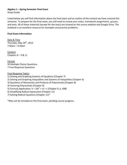 Algebra 1 Spring Semester Final Exam Study Guide Listed